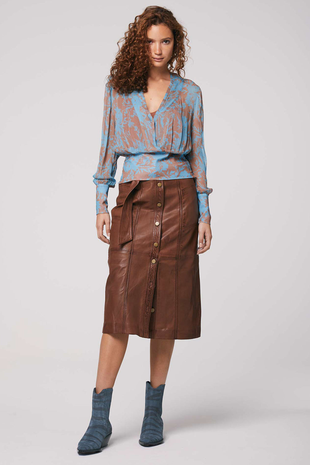 Once Was / Oakley Washed Leather Midi Skirt / Desert