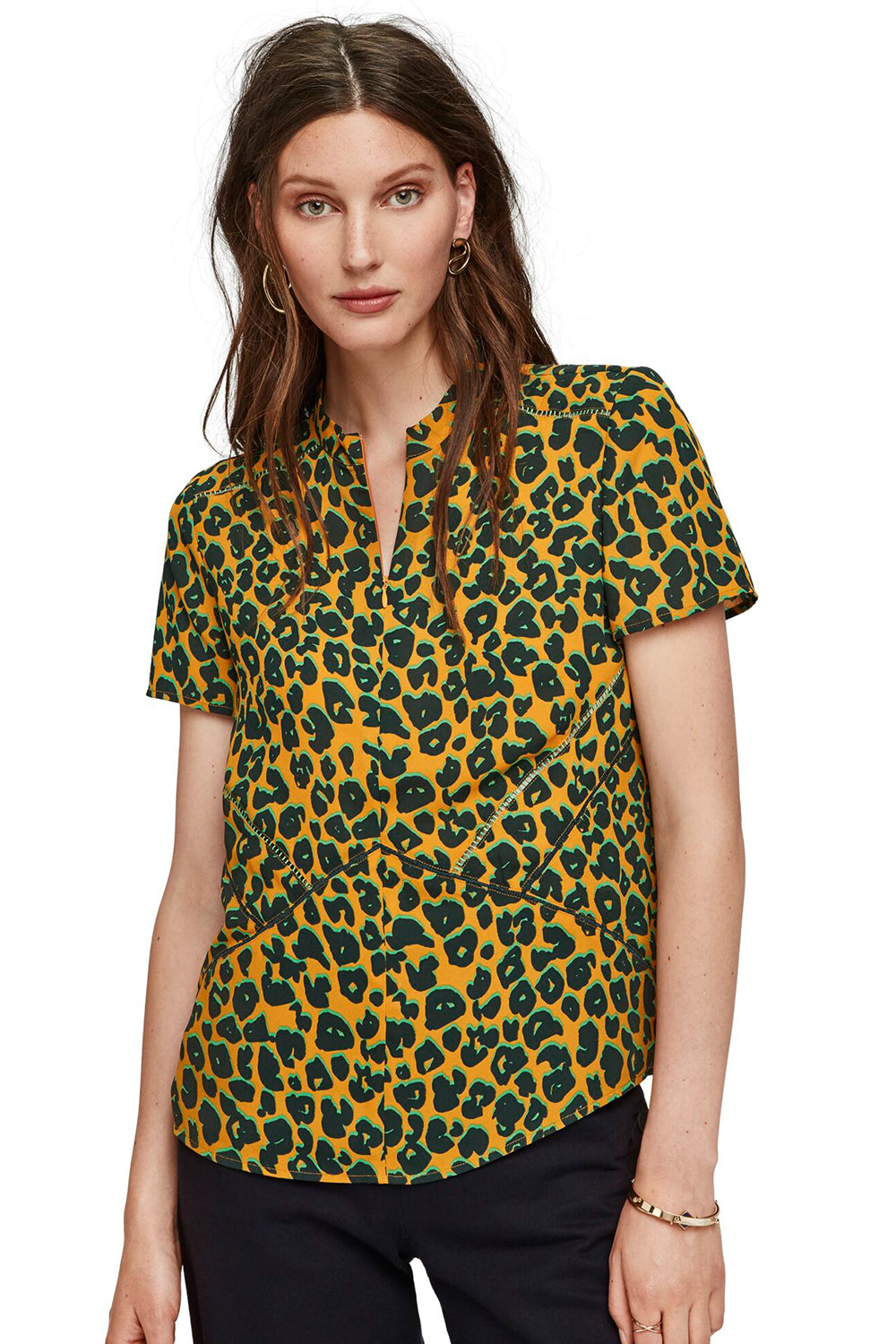 Maison Scotch / Short Sleeve Printed Top