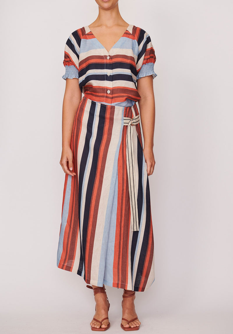 P O L / Shutter Draped Skirt / Shutter Stripe