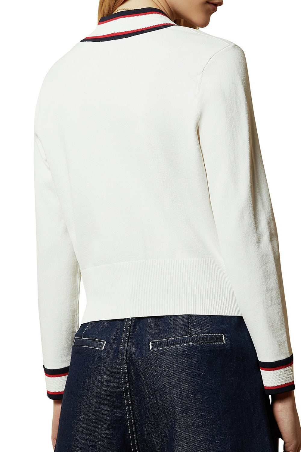 Ted Baker / Skilarr Contrast Colour Rib Cardi / Ivory