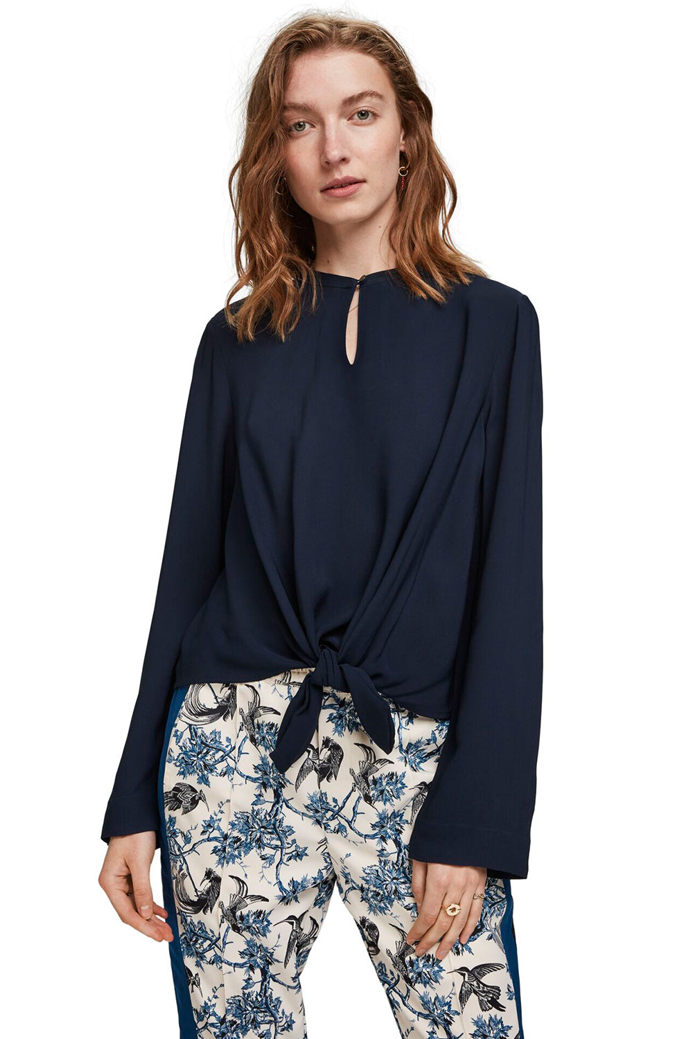 Maison Scotch / Viscose Top With Tie Detail / Night