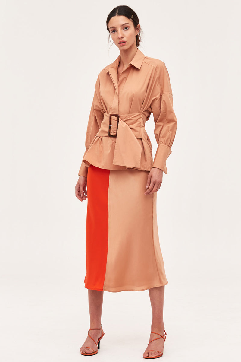 C/MEO Collective / Thoughtful Skirt / Vermilion+Tan