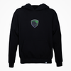 Black hoodie on a white background. Hoodie features a black, grey, green, and white patch. Patch has the endemic logo of the profile of a grey cat in front of a green background. Hoodie has an traingle skull clamp label at the hem.