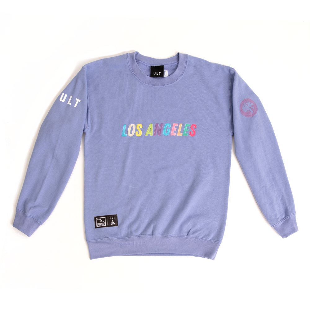 Pale purple ULT esports apparel sweatshirt with LOS ANGELES text in rainbow on front and ULT on arm