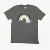 "Grey tee on a white background. Tee features a large chest hit of a black grey and neon yellow rainbow. ""Virtual Hugs"" is under the left part of the rainbow and ""ULT"" is under the right. Rainbow colors in order from smallest to largest arch: Neon yellow, white, light grey, medium grey, silver reflective ink, black."