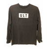 "Black long sleeve tee on a white background. Tee features a grey rectangle on the chest with black ""ULT"""