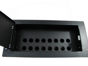 "Wall Mount Box - Procraft FMWB-6-16X-BK 6"" Flush Mount Punched for 16 D  XLR's"