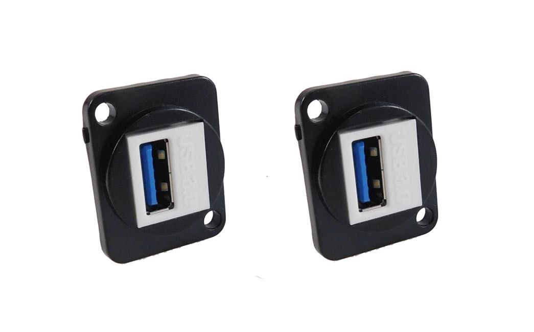 2 Pack Panel Mount D type XLR USB 3.0 Feedthru - metal connector    LY-409