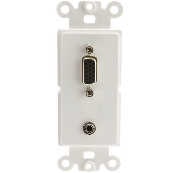 Decora Wall Plate Insert, White, VGA (HD15) 3 inch 3.5mm Stereo Coupler