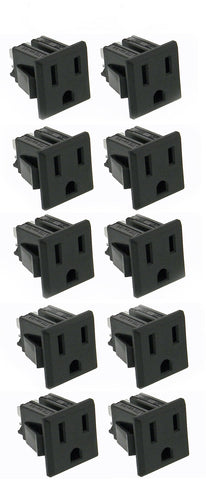 10 pack AC Outlet, NEMA 5-15R, 3 Wire 15A, Snap-in    32041