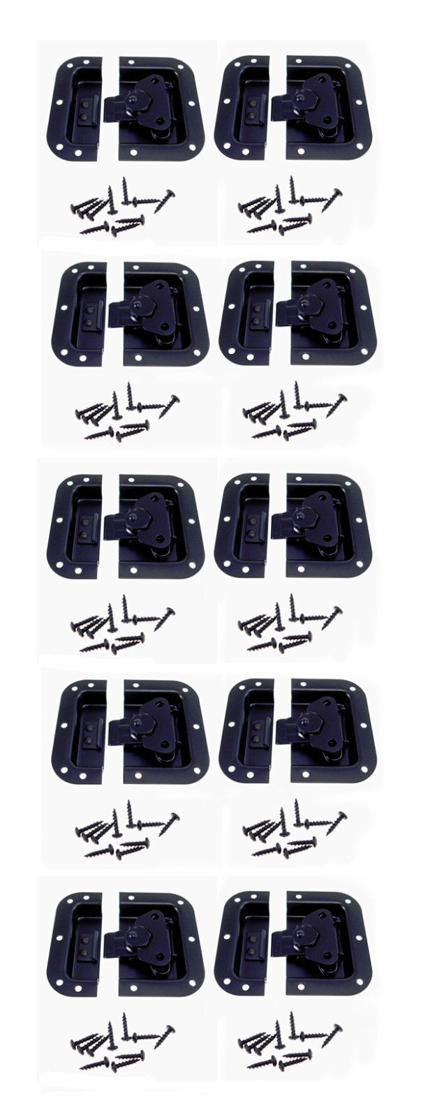 10 Pack Black Finish Medium Recessed Butterfly Latch Pedal Board Cases A3020BK