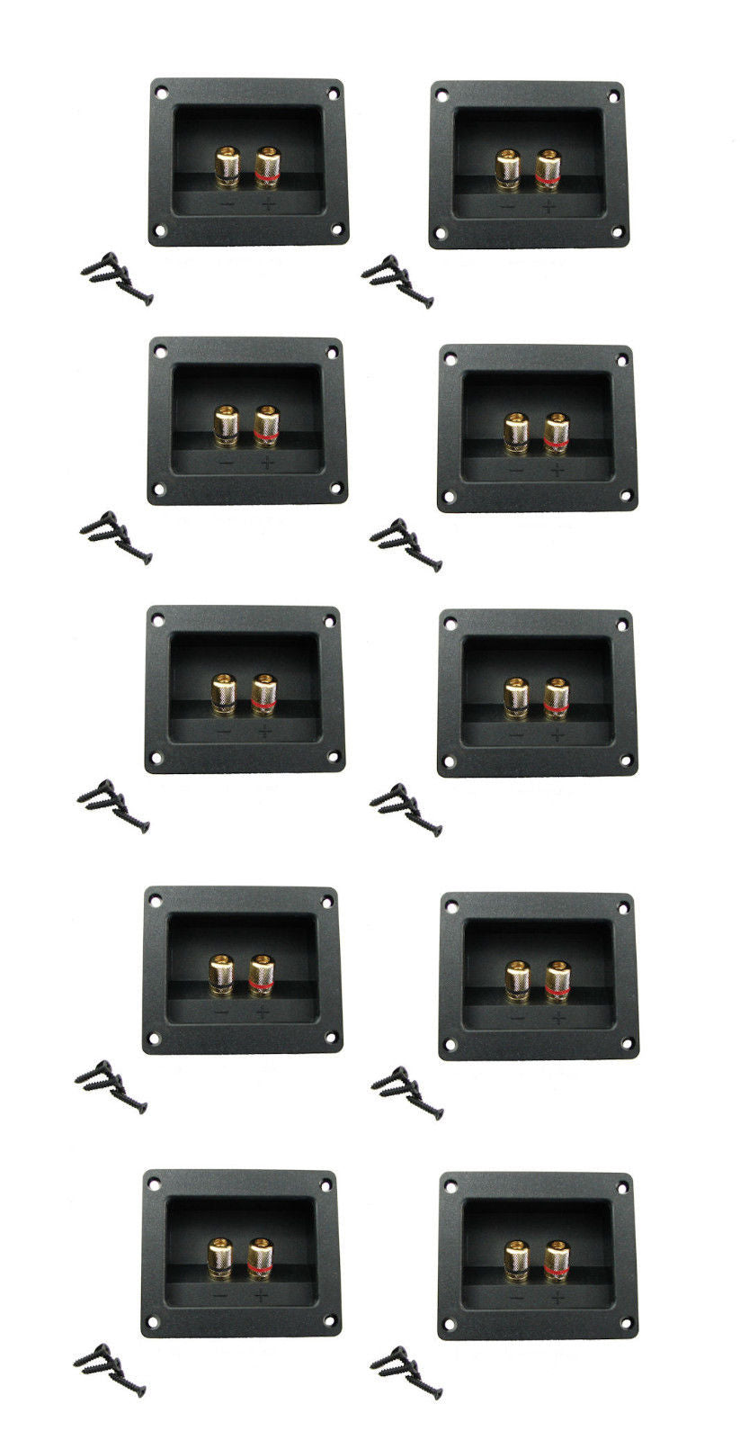 10 Pack Goldwood Sound RGT-3000 Gold Plated Speaker Terminal W/ Gasket