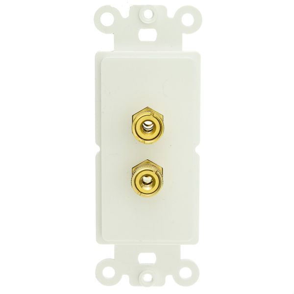 Decora Wall Plate Insert, White, 2 Banana Plug Binding Posts