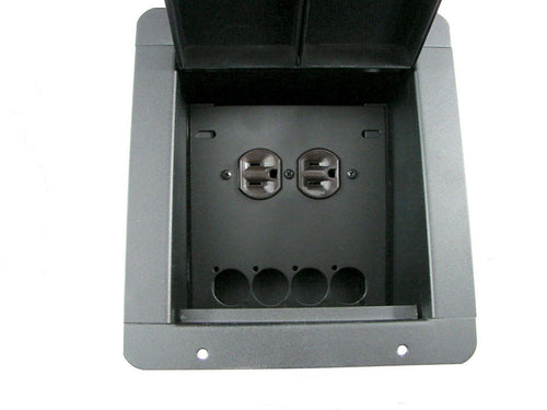 Recessed Floor Pocket Box. Loaded AC Duplex and PrePunched for 4