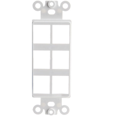 Decora Wall Plate Insert, White, Six Keystone Unloaded    302-6D-W