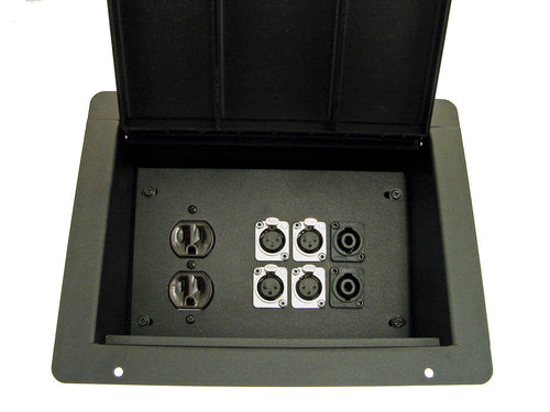 ProCraft Pro Audio Recessed Pocket Floor Box.1 AC Duplex 6 Channels Any Configs