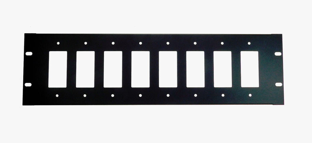 3U Procraft Decora AV 16 ga. Formed Aluminum Rack Panel - Eight Inserts