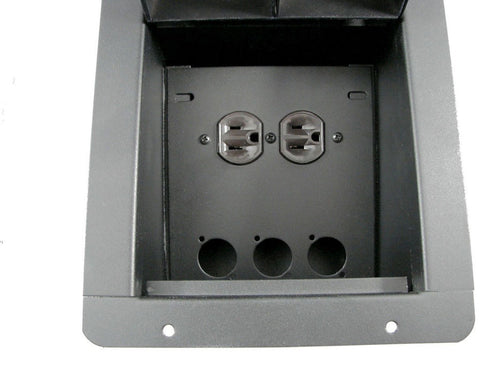 Recessed Floor Pocket Box. Loaded AC Duplex and PrePunched for 3