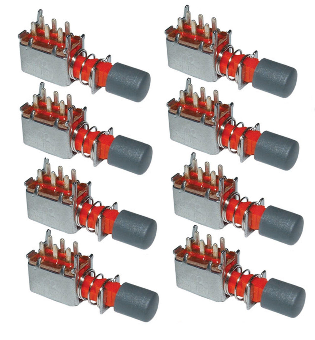 8 Pack DPDT Push Button Switch Alternate Action - PC Mount     18017