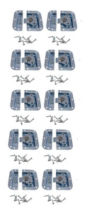10 Pack Zinc Finish Medium Recessed Butterfly Latch-Rack-Pedal Board Cases A3020