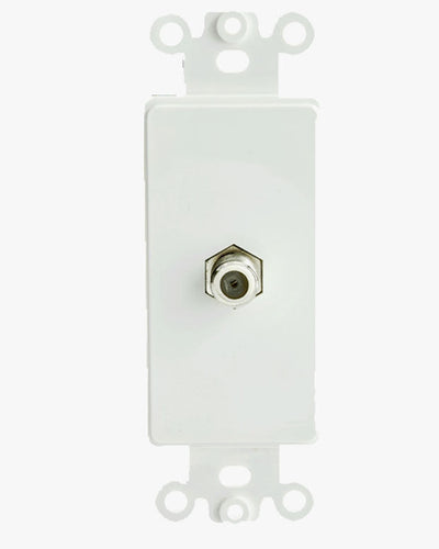 Decora Wall Plate Insert, White, F connector Coaxial Coupler, 301-1000