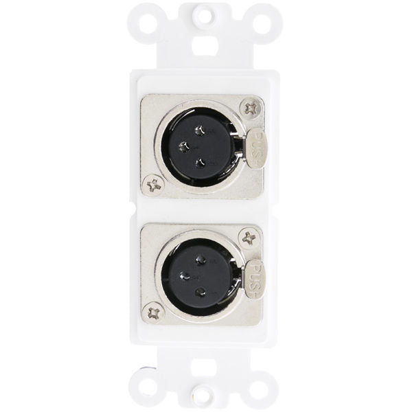 Decora Wall Plate Insert, White, Dual XLR Female to Solder Type  301 2005