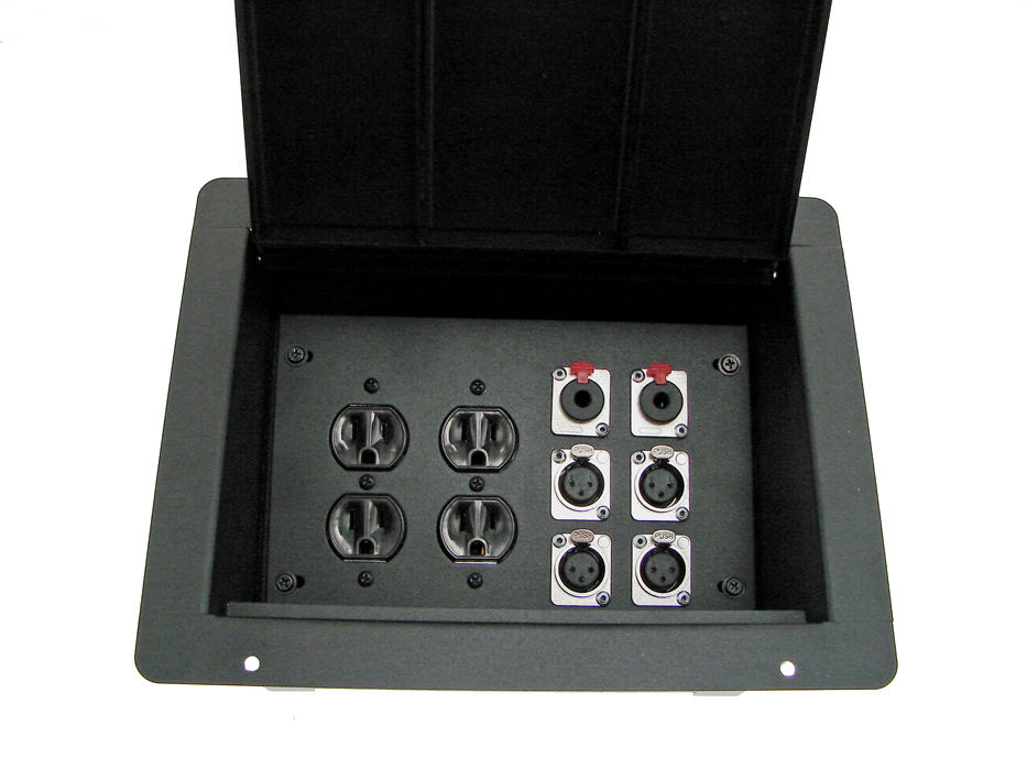 ProCraft Pro Audio Recessed Pocket Floor Box.2 AC Duplex 6 Channels Any Configs
