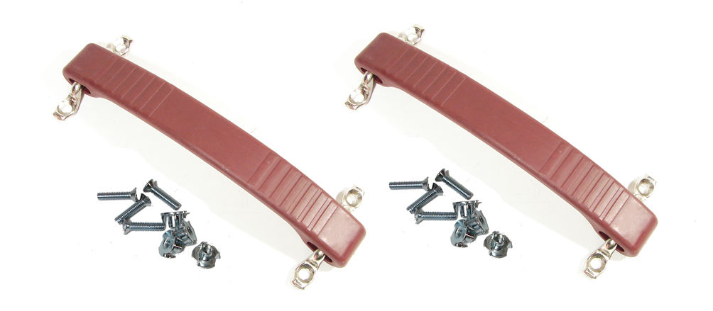 2 Red Rubber Amp Strap Handle Fender Dog Bone Style Replacement W/Mtg. Hardware