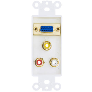 Decora Wall Plate Insert, White, VGA Coupler and 3 RCA Couplers Red/White/Yellow