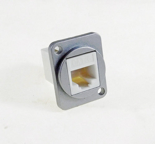 Panel Mount D type XLR CAT6E - White - metal connector   LY-513-W