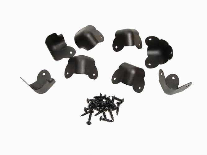 Mixed Set of 8 Metal Corners - 4 Two Leg W/Lip and 4 Three Leg - Black