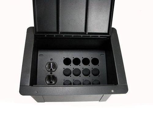 ProCraft Pro Audio Recessed Pocket Floor Box.12 D Mount Openings and 1 AC Duplex