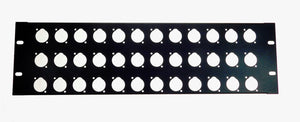 3 Space 16 ga. Formed Aluminum 3U Rack Panel - Pre-Punched for 36 XLR's - Black