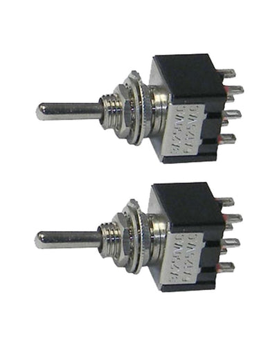 2 Pack Miniature DPDT Toggle Switch 2 Position ON-OFF-ON   25014