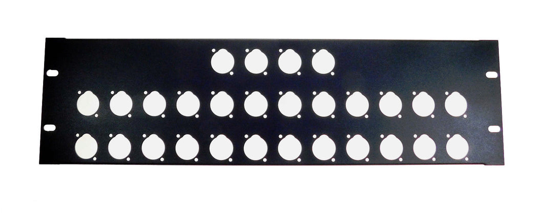 3 Space 16 ga. Formed Aluminum 3U Rack Panel - Pre-Punched for 28 XLR's - Black