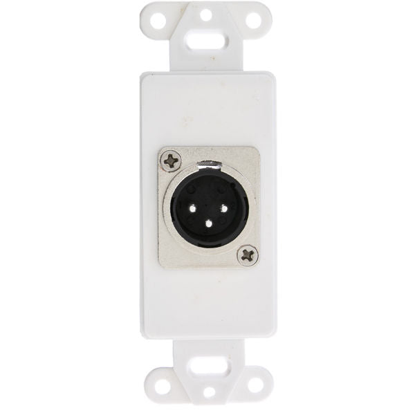 Decora Wall Plate Insert, White, XLR Male to Solder Type