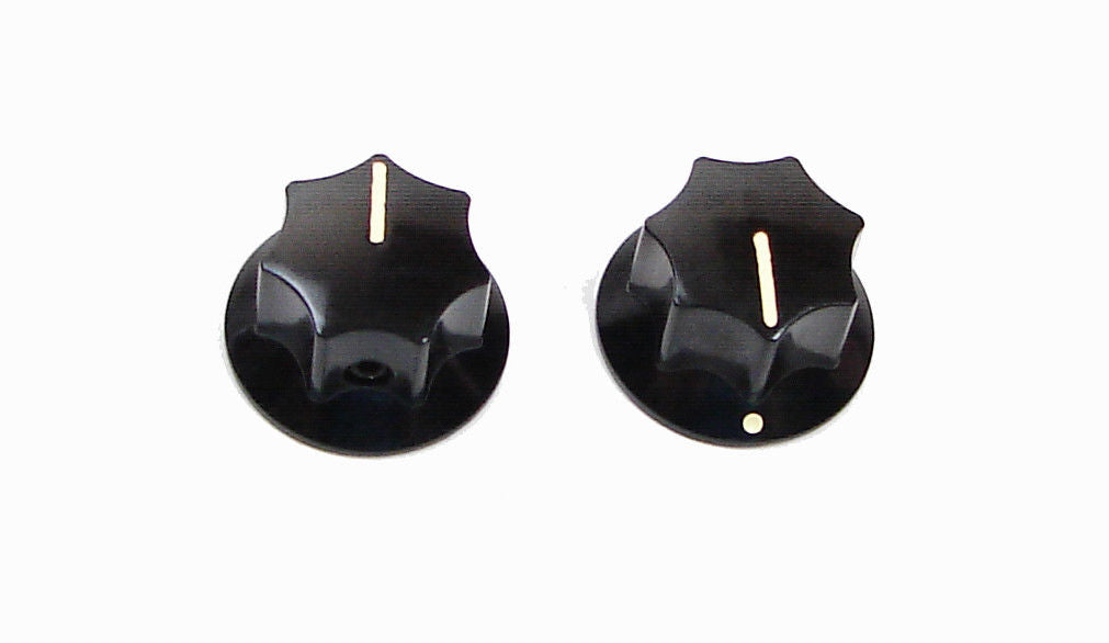 2 Pack Black Phenolic Amplifier Guitar Knob with Ivory Indicator Line   Z408600