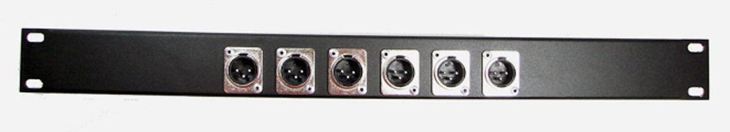 1U Procraft 6 Channel Male XLR Rack Panel     AFP1U-6XM-BK