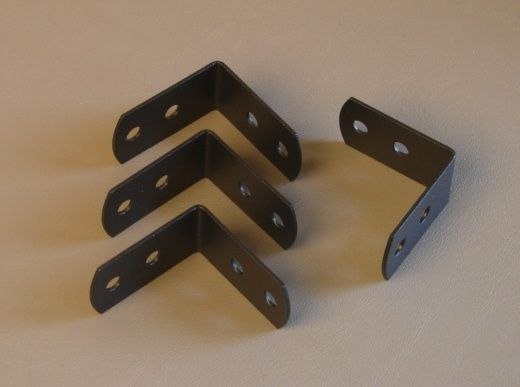 Four Penn Elcom Medium Corner Braces W/Screws - Black Powder Coat 1220BK