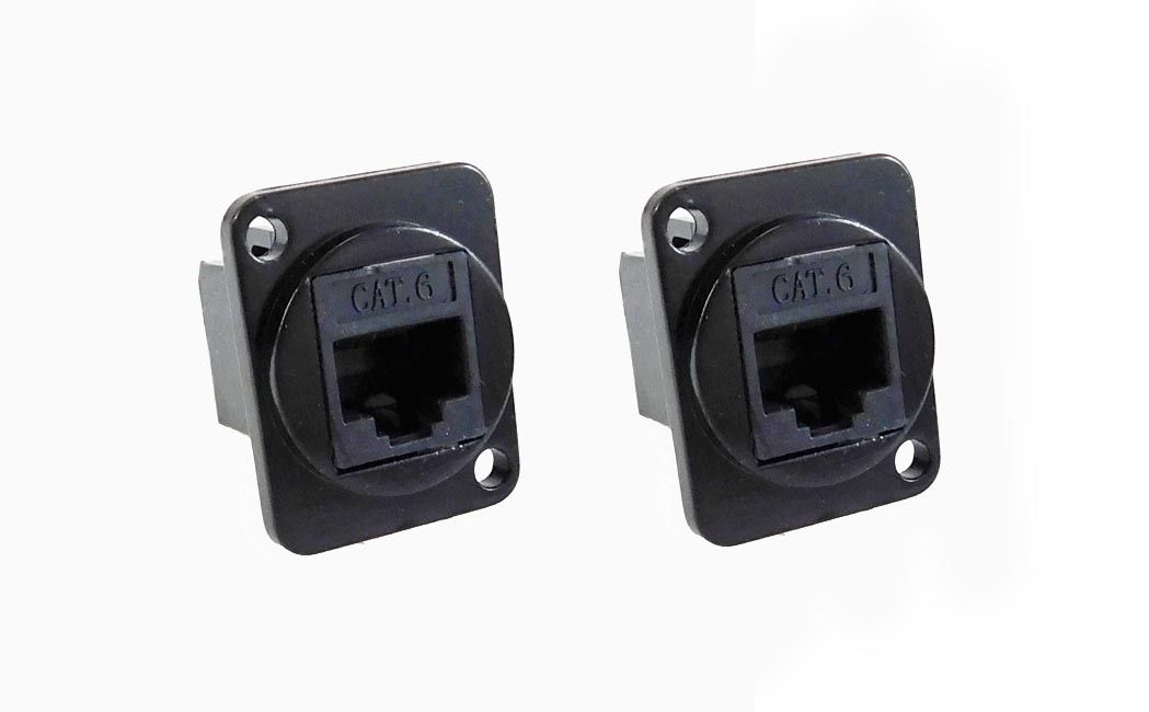 2 Pack Panel Mount D type XLR CAT6E - metal connector   LY-513