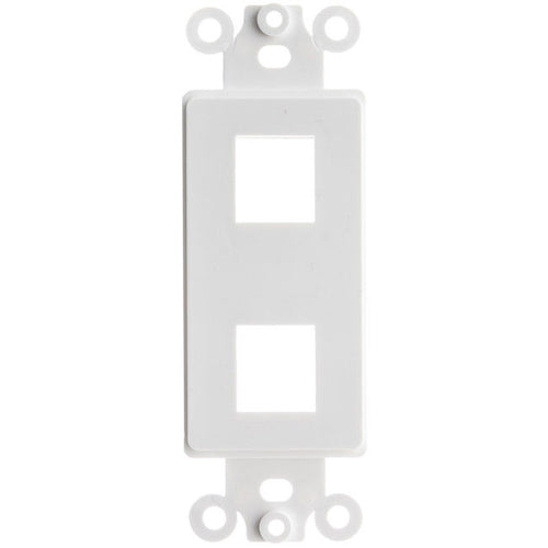 Decora Wall Plate Insert, White, Two Keystone Unloaded    302-2D-W