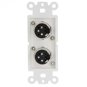 Decora Wall Plate Insert, White, Dual XLR Male to Solder Type   301 2006