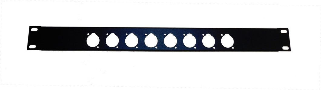 Procraft 1U 16 ga. Formed Aluminum Rack Panel - Pre-Punched for 8 XLR's - Black