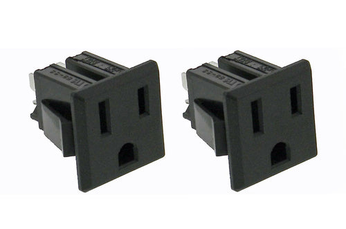 2 Pack AC Outlet, NEMA 5-15R, 3 Wire 15A, Snap-in    32041