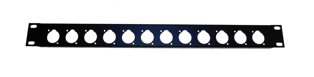 1U Procraft 16 ga. Formed Aluminum Rack Panel - Pre-Punched for 12 XLR's - Black