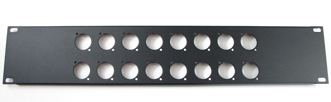 2 Space 16 ga. Formed Aluminum Rack Panel - Pre-Punched for 16 XLR's - Black