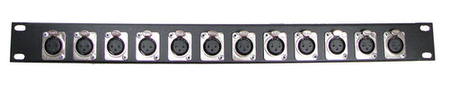 1U Procraft 12 Channel Female XLR Rack Panel     AFP1U-12XF-BK