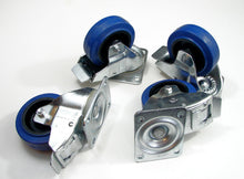"Load image into Gallery viewer, Four Heavy Duty 4"" Penn Elcom W0985-V6 Swivel Casters W/Brake, Blue Rubber Wheel"