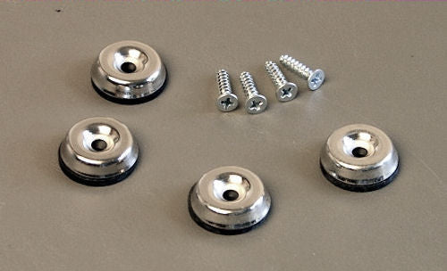 4 Pack Metal Amp Glides W/Rubber Insert and Screws Fender Replacement 3045