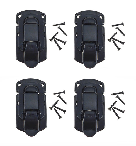 4 Pack Reliable Hardware 2510BK Briefcase/Draw Latches Black Finish and Mtg. Screws